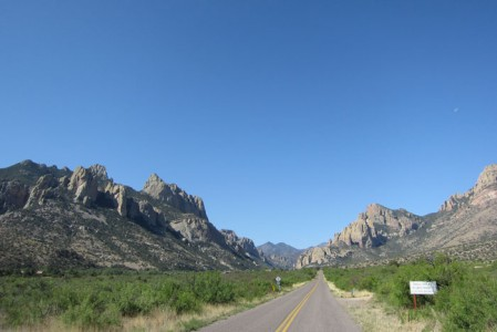 Southeast Arizona is endlessly scenic; here the entrance to famous Cave Creek Canyon in the Chiricahua Mountains.