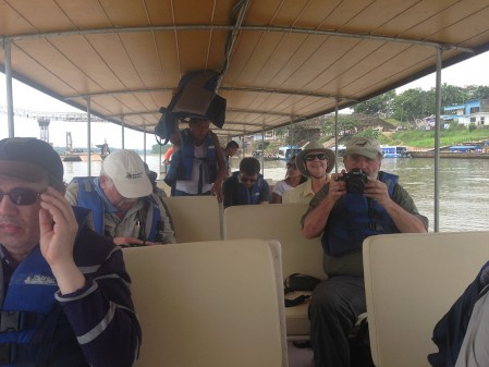 These boats are comfortable and well shaded for sun or rain during our 2.5 hour ride down the Rio Napo.