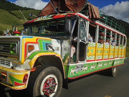 ... and we would love to travel onboard one of the colorful 'chiva' public buses, but they are too slow for us...